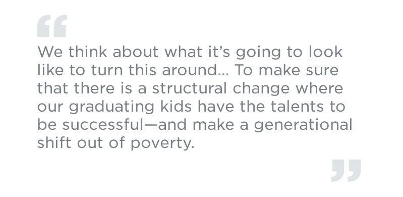 We think about what it's going to look like to turn this around… To make sure that there is a structural change where our graduating kids have the talents to be successful—and make a generational shift out of poverty.