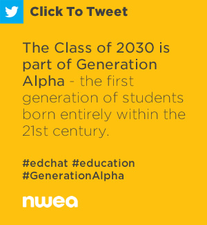Tweet: The Class of 2030 is part of Generation Alpha - the first generation of students born entirely within the 21st century. https://ctt.ec/clLjb+ #edchat #education #GenerationAlpha