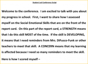 Student-Led Conference Script
