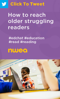 Tweet: How to reach older struggling readers https://nwea.us/2P5DRkp #edchat #education #read #reading
